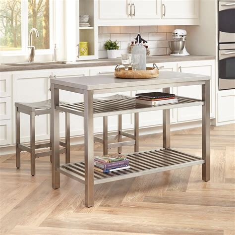 Kitchen Island Stainless Steel Home Styles Brushed Satin Stainless Steel Kitchen Island With Bar Stools 5617 948 The Home Depot