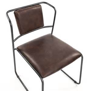Modern industrial rustic iron leather dining chair kathy kuo home
