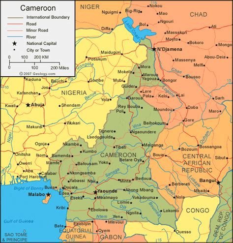 yaounde africa map cameroon map and satellite image