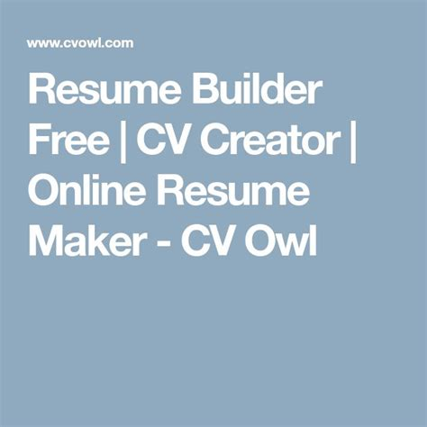 best 25 free cv builder ideas on what is