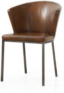 Industrial Dining Chairs Industrial Style Pair Of Brown Faux Leather Retro Curved Dining Chairs