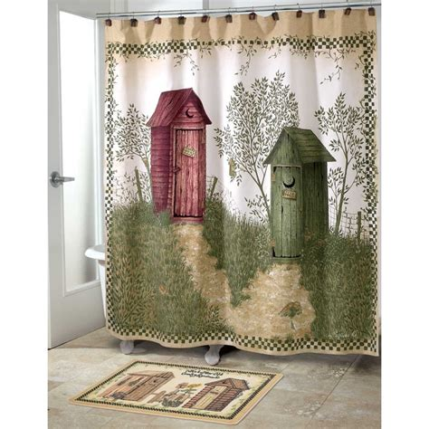 country shower curtains and accessories outhouses bath set 5 piece country decor shower curtain