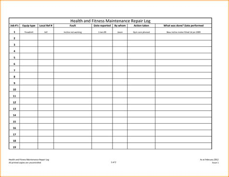 equipment maintenance schedule template equipment maintenance log 6 equipment maintenance log