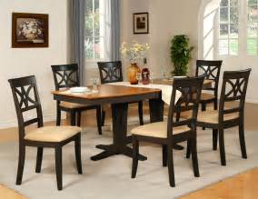 Table Sets Dining Room 7pc Dinette Dining Room Table W 6 Microfiber Padded Chairs Black Cherry Brown