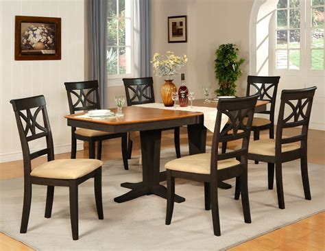 7pc dinette dining room table w 6 microfiber padded chairs black cherry brown