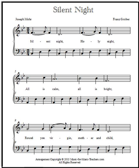 printable sheet music silent night silent night sheet music piano arrangements free