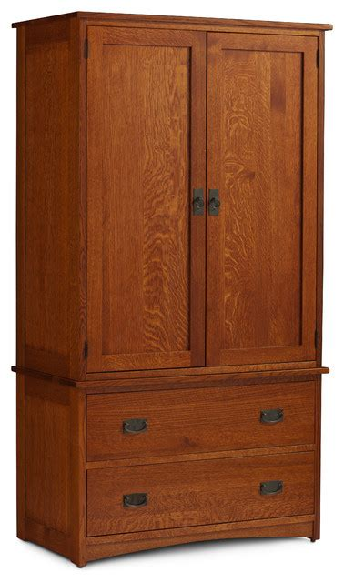 Prairie Mission Tall Armoire On Chest Craftsman Armoires And Wardrobes Houzz