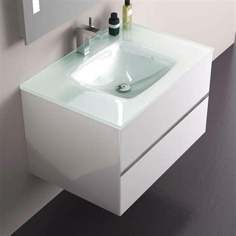 Meuble salle de bain Blanc 75 cm, 2 tiroirs, plan verre, Glass