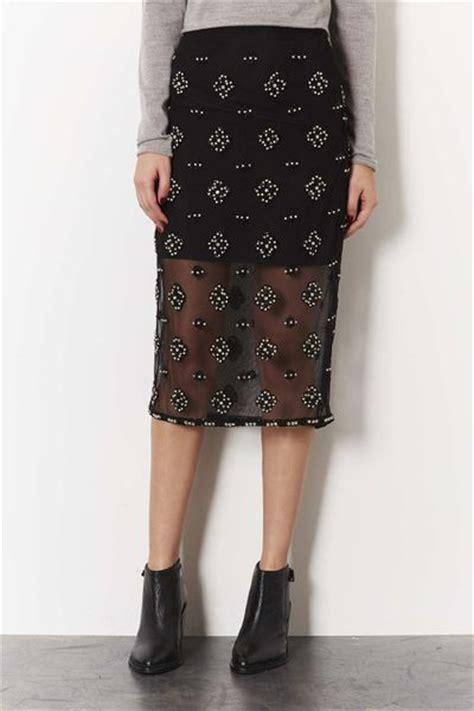 topshop embellished pencil skirt in black lyst
