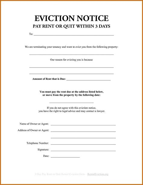 eviction templates eviction notice template sop exle