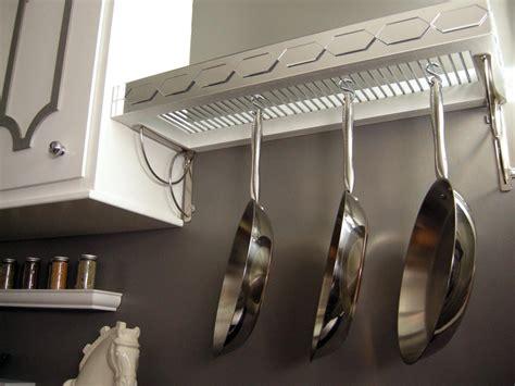 diy kitchen storage shelf and pot rack hgtv how to build a pot rack with shelf hgtv