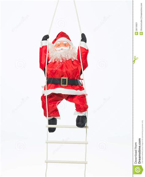 Outdoor Decorations toy santa climbing a ladder stock image image 28118921