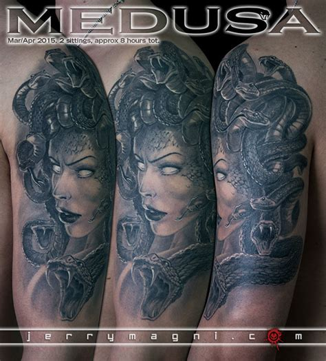 jerrymagni medusa black and grey portrait snakes mithology