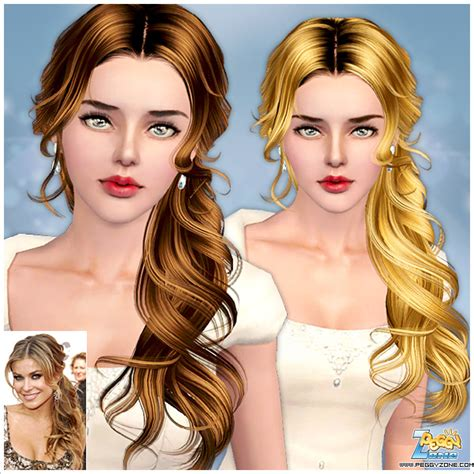 side ponytail sims 3 the sims 3 wavy side ponytail id 000047 by peggy zone
