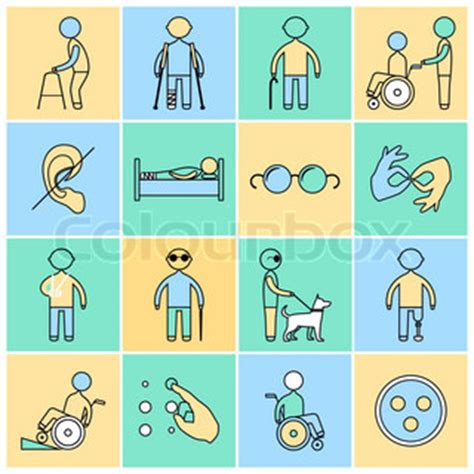 jobs for the hearing impaired person disabled people flat line icons set isolated vector