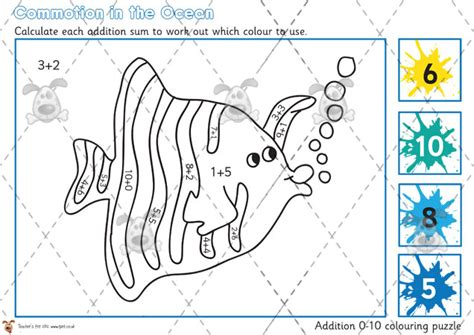 printable number games ks1 teacher s pet under the sea addition colouring puzzle 0