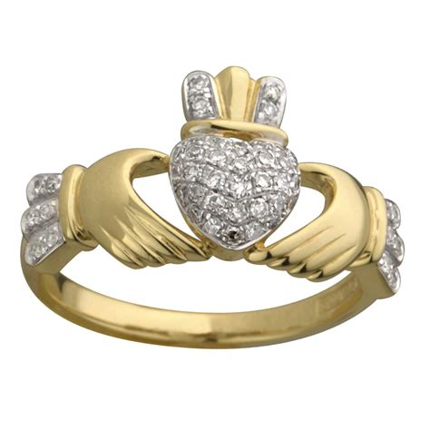 14k yellow micro claddagh ring shamrock gift