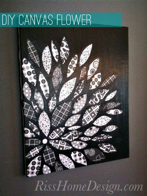 Plakat Acrylic 3 Layer 2 diy canvas flower with scrapbook paper riss home design