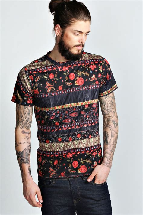 Mens Printed T Shirts by Boohoo Mens Floral Paisley Printed Sleeve Top T Shirt In Navy Ebay