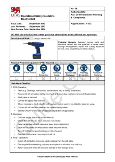 safe work procedure template