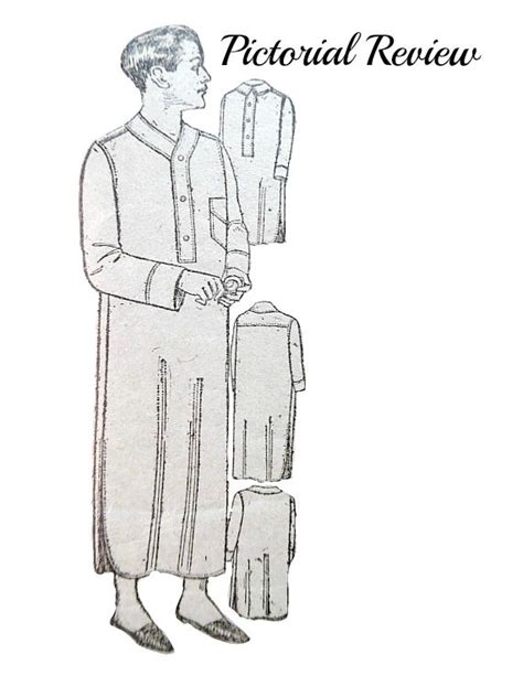 etsy pattern website review 1920 s mens night shirt pajamas pattern size chest 42
