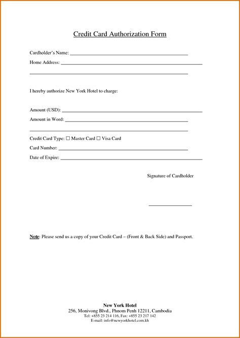 credit card information sheet template simple credit card authorization form template to pay an