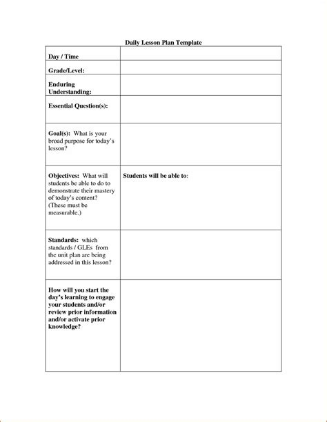 template for lesson plan printable lesson plan template calendar template letter