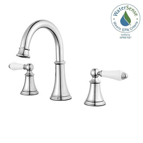 white bathroom faucets pfister courant 8 in widespread 2 handle bathroom faucet in polished chrome with white handles
