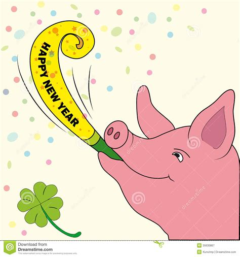 new year for the pig new years card lucky pig with trumpet royalty free stock