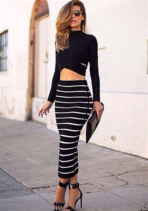 Dress Polka 2in1 black white 2 in 1 crop top bodycon striped skirt bandage club dress twinset for