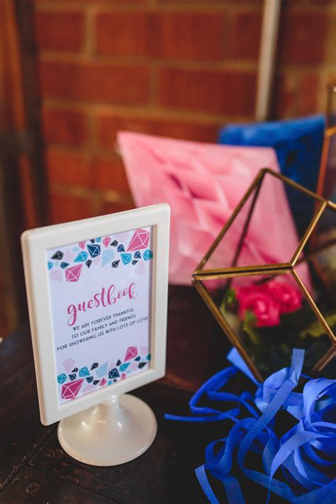 Gender Reveal Baby Shower Decorations by Kara S Ideas Geometric Gender Reveal Baby Shower