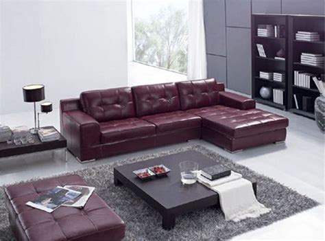 burgundy leather sofa decorating ideas maroon leather l shape sectional sofa set with black