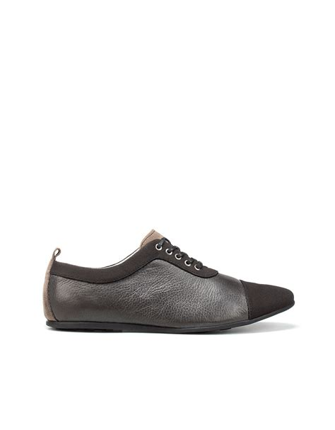 zara oxford shoes zara combined oxford shoe in black for lyst