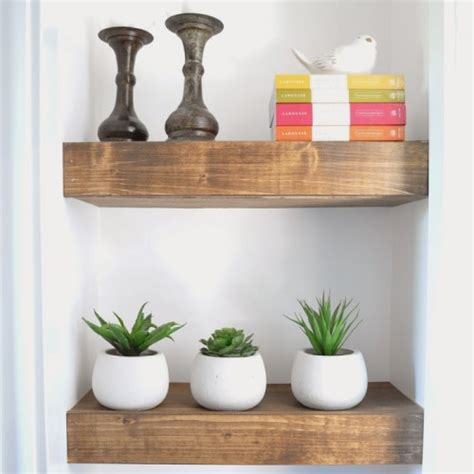 chunky wooden shelves diy chunky stained wooden shelves shelterness