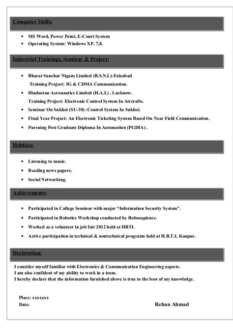 Resume Sample Download For Freshers by Sample Cv For Electronics Amp Communications Student