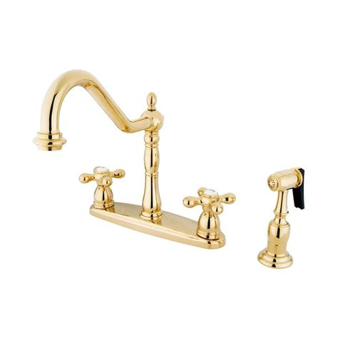 brass faucet kitchen shop elements of design new orleans polished brass 2 handle deck mount bridge kitchen faucet at