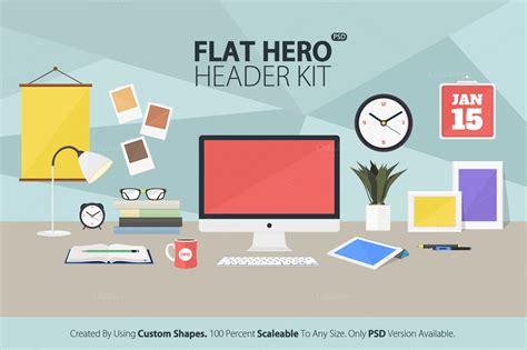 flat design header size 25 hero header mockup templates designazure com