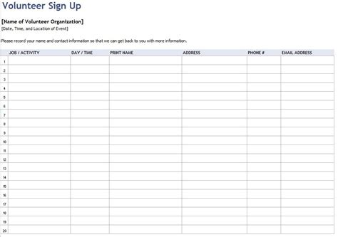volunteer sign up sheet template complete guide example amazing