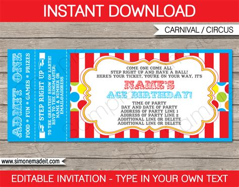 printable tickets invitations carnival party ticket invitation template carnival or circus
