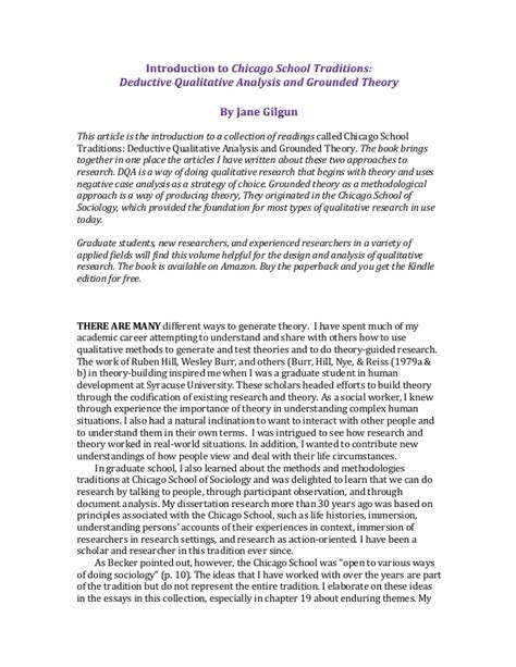 Theoretical Analysis Essay Exle by Introduction Chicago School Traditions Deductive Qualitative Analys