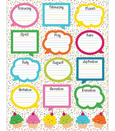 birthday chart template for classroom school pop birthday chart grade pk 5 carson dellosa