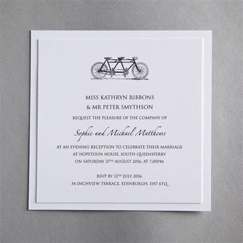 wedding invitations evening tandem bicycle wedding invitation by twenty seven notonthehighstreet