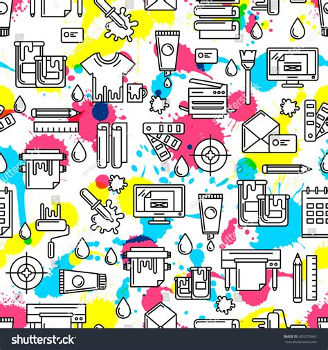 image pattern service vector seamless pattern outline printing icons stock
