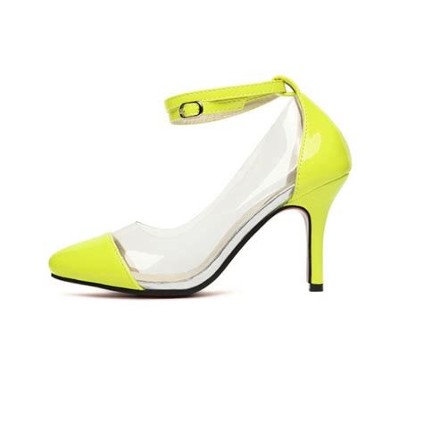 yellow pointed toe clear pvc high heel court shoes