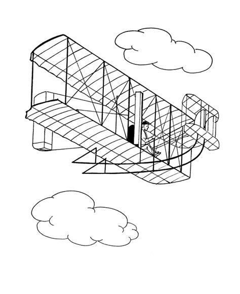 Bluebonkers Wright Brothers Flyer Coloring Pages Planes Wright Brothers Coloring Page