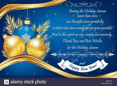 end of year greetings thank you blue business greeting card for the end of the year stock photo royalty free image