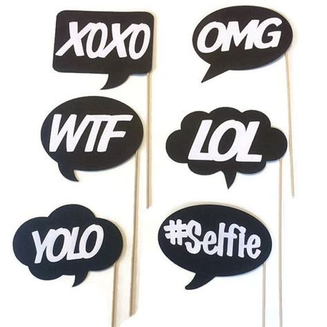 photo booth props fun and funky word bubbles 6 piece