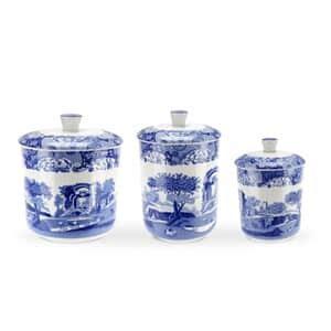 spode blue italian canisters set   bli