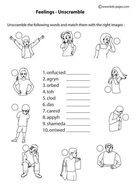 Mental Health Worksheets For Children by Feelings Unscramble B W Worksheets Mental Health Items