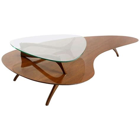 Mid Century Glass Coffee Table Mid Century Modern Kidney Organic Shape Walnut Coffee Table W Glass Top At 1stdibs